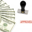 Bills and Approved rubber stamper — Stock Photo