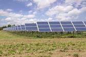 Solar panels farm under blue sky — Stock Photo