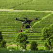 Rc helicopter flies over the tea plantation — Stock Photo #33672353