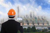 Construction engineer with a red helmet and documents on the background of the plant — Stock Photo