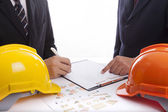 Construction engineers view project — Stock Photo