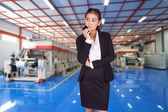 Businessman holding a mobile phone in her hands — Foto Stock