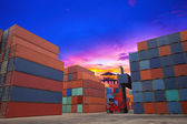 Containers in the port — 图库照片