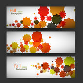 Three sticker with autumn leaves abstract — Stock Vector