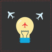 Planes and light bulb. flat icons — Stock Vector