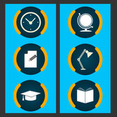 Six items related to education. Vector set — Stock Vector