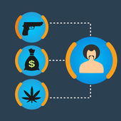 Set Gangster money, weapons, drugs — Vector de stock