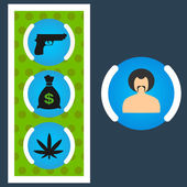 Set Gangster money, weapons, drugs — Vetorial Stock