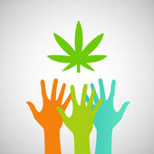 Hands Reaching for a marijuana leaf — Vector de stock