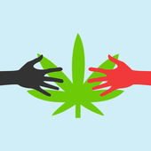 Hands Reaching for a marijuana leaf — Stock Vector