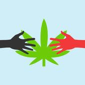 Handen bereiken voor een marihuanablad — Stockvector