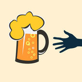 Hands reaching for glass of beer — Stock Vector