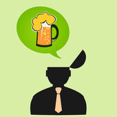 Icon man thinks about beer on Friday — 图库矢量图片