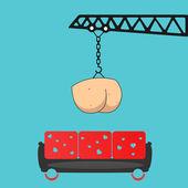 Lieferung arschlöcher auf lieblings-sofa. — Stockvektor