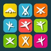 ícones dos povos modernos, levando estilo de vida ativo — Vetor de Stock