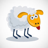 Funny sheep with his tongue hanging out. vector — Stock Vector