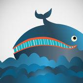 Renkli vektör neşeli balina deniz — Stok Vektör