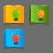 Conjunto de iconos simples bombillas de luz de color plano — Vector de stock