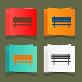 Set of vintage benches for parks and streets — Stock Vector