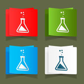 Set icons chemical experiments blue background eps — Stock Vector