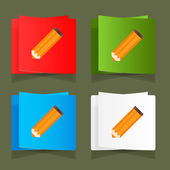 Set of simple icons pencil orange eps — Stock Vector