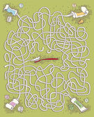 Toothpaste Maze Game — Stock Vector