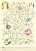Cuffie gioco labirinto — Vettoriale Stock