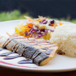 Salmon steak sauce teriyaki with rice and vegetables — Stok Fotoğraf #34340483