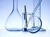 Close-up chemistry glassware — Stock Photo