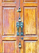 Old style wooden door with locks — Stock Photo