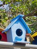 Handmade many bird houses nesting — Stock Photo