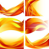 Set fire flame waves isolated on white background — Stock Vector