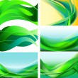 Set of green, blue, yellow waves isolated background — Stock Vector