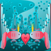Card Valentine's Day. Red fish in the crown with heart — Stok Vektör