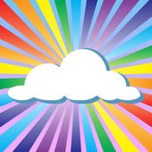 Colorful illustration background of cloud and rainbow — Stock Vector