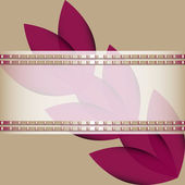 Flowers and transparent ribbon adorned with a metal pattern — Stock Vector