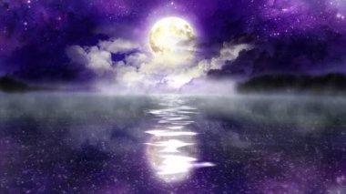 волшебная ночь над озером - петля. — Стоковое видео