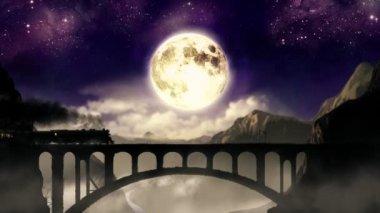 Night train on the mountain bridge — Stock Video