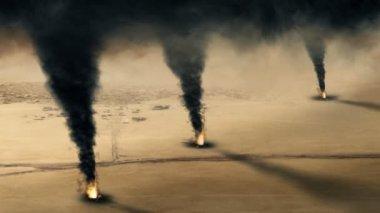 Pozzo di petrolio kuwaitiano fuoco - ciclo — Video Stock
