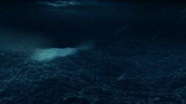 Rescue flight over the stormy ocean HD loop — Stock Video