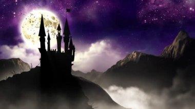 Spooky Castle with bats HD loop — Video Stock