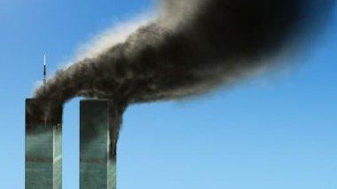 Burning WTC buildings - loop — Stock Video