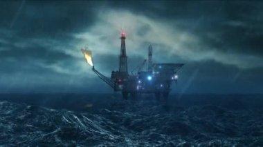 Oil platform in the storm - loop — Stock Video