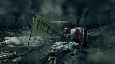"Apocalypse - ""help"" flag HD — Stock Video"