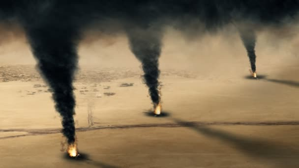 Incendie de puits de pétrole koweïtiens - boucle — Vidéo