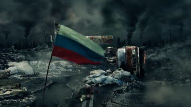 Post apocalyptic scene - Russian flag — Stock Video