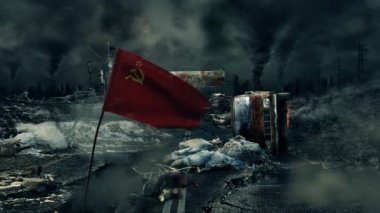Post apocalyptic scene - Soviet flag — Stock Video
