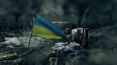 Post apocalyptic scene - Ukrainian flag — Stock Video