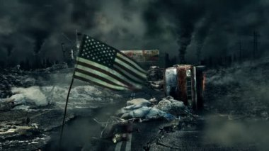 Post apocalyptic scene - USA flag — Stock Video
