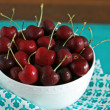 Cherries in a White Bowl — Stock Photo